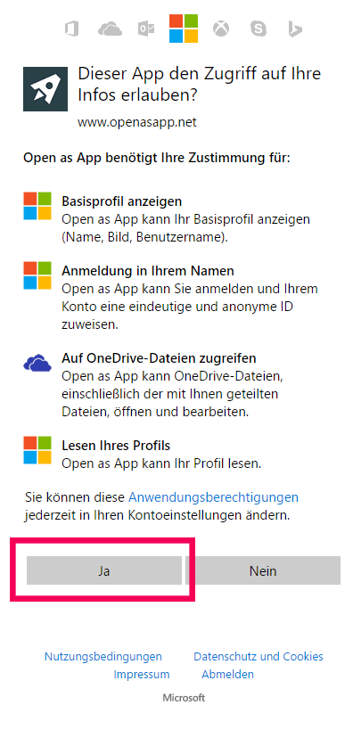 Open as App OneDrive Access permission