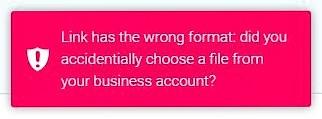 SharePoint Online Error Message business account